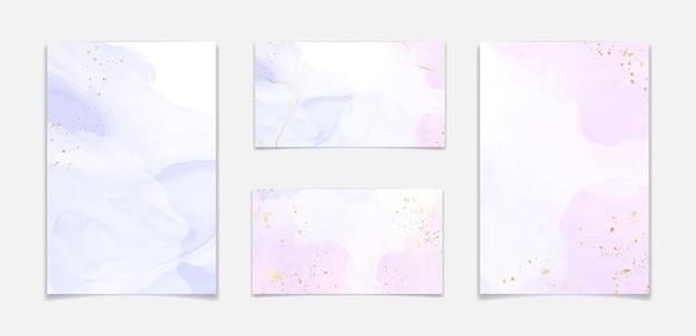 Sfondo di marmo liquido astratto di due colori rosa e lavanda con strisce dorate e polvere di glitter