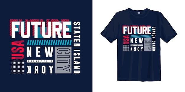 T-shirt elegante tipografia astratta. staten island, new york, usa