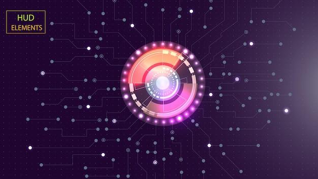 Interfaccia hud utente astratta da elementi futuristici incandescenti. env 10.
