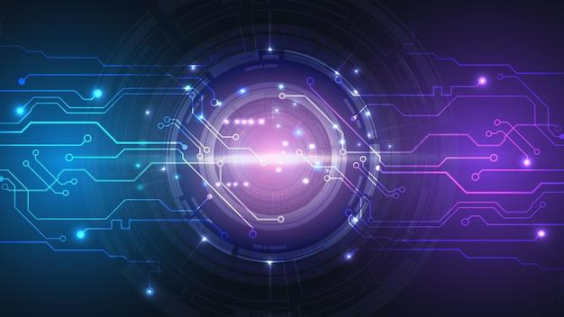 Interfaccia hud utente astratta da elementi futuristici incandescenti. rete digitale ad alta tecnologia, comunicazioni, alta tecnologia. env 10.