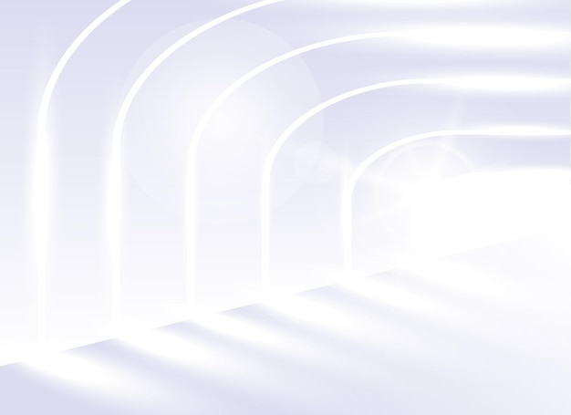 Architettura astratta del fondo di vettore. prospettiva architettonica. le linee spioventi dell'architettura. corridoio bianco luminoso in un edificio moderno o in un tunnel luminoso.