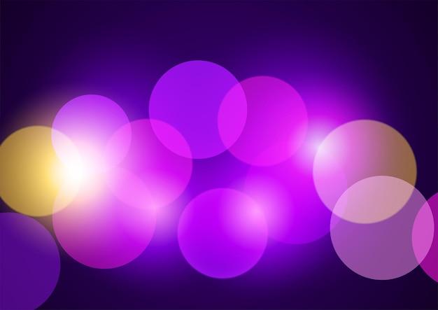 Sfondo vettoriale astratto di luci bokeh viola e rosa