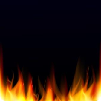 Sfondo astratto vettoriale con effetto fiamme fuoco realistico.