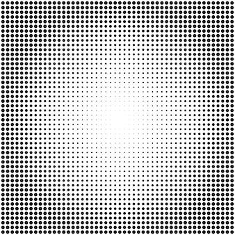 Fondo di semitono punteggiato in bianco e nero di vettore astratto. modello radiale a punti.