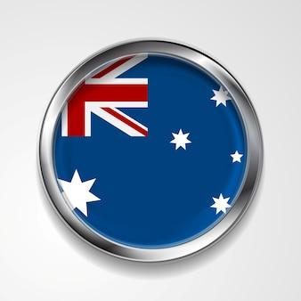 Pulsante vettoriale astratto con cornice metallica. bandiera australiana