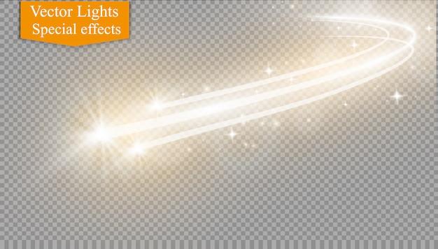 Effetto di luce magica d'ardore della stella di vettore astratto dalla sfuocatura al neon delle linee curve.