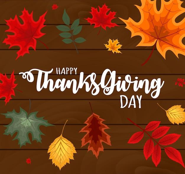 Illustrazione astratta di vettore fondo felice di giorno del ringraziamento con le foglie di autunno che cadono. eps10