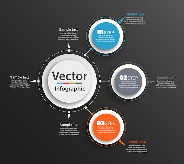 Modello astratto di opzioni di numero di infographics di vettore con 3 punti