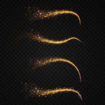 Effetto di luce vettoriale astratto della linea di luce dorata