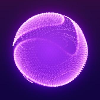 Sfera cliccata maglia astratta vettoriale su sfondo viola scuro