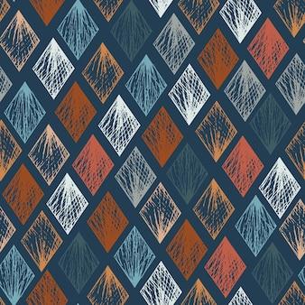 Modello senza cuciture del rombo disegnato a mano strutturato blu e arancio pastello di vettore astratto