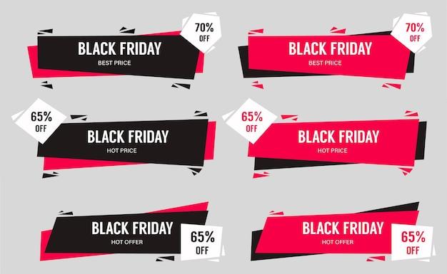 Insieme astratto di vettore dei disegni del layout di vendita del black friday per il marketing del black friday