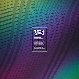 Fondo luminoso variopinto di forma d'onda tecnologica astratta di vettore.