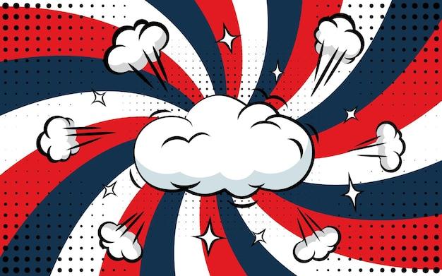 Fondo d'annata astratto di luce solare con una nuvola nel centro. stile circo di carnevale per l'animazione in cerchio. illustrazione di vettore del raggio di sole di scoppio della stella
