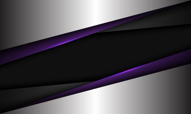 Il triangolo d'argento metallico grigio viola astratto si sovrappone sull'illustrazione futuristica moderna del fondo di tecnologia dello spazio vuoto nero.