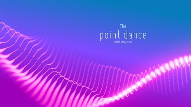 Onda astratta di particelle viola, sfondo di array di punti points