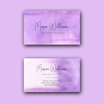 Modello di biglietto da visita aziendale dell'acquerello viola astratto