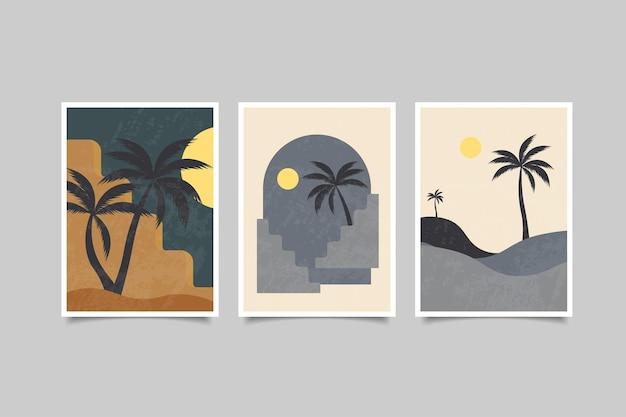 Collezione di paesaggi contemporanei di arte murale astratta