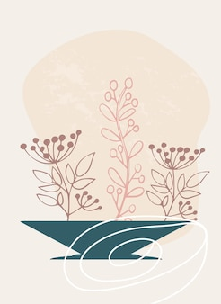 Arte astratta della parete di erba di campo e rami con foglie in un vaso