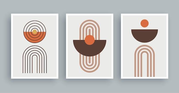 Linee di pittura astratta della parete e sfondo del cerchio geometrico minimalista e linea disegnata a mano