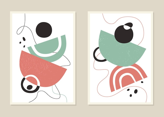 Quadri astratti con forme geometriche in colori alla moda