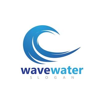 Disegno astratto del logo delle onde di spruzzi d'acqua