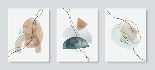 Sfondo acquerello astratto impostato in uno stile minimalista alla moda. illustrazione disegnata a mano di vettore in colori pastello per modelli, poster, stampe d'arte da parete, copertine, imballaggi, storie di social media