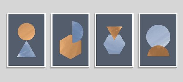 Acquerello astratto con elementi geometrici