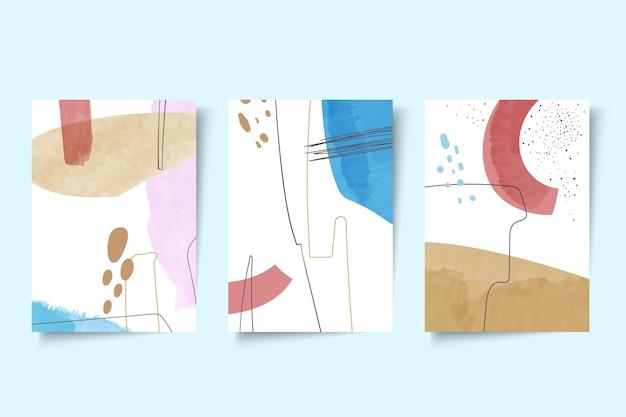Pacchetto di copertine di forme astratte dell'acquerello