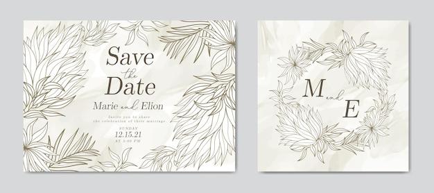 Carta di invito matrimonio acquerello astratto con stile vintage foglie