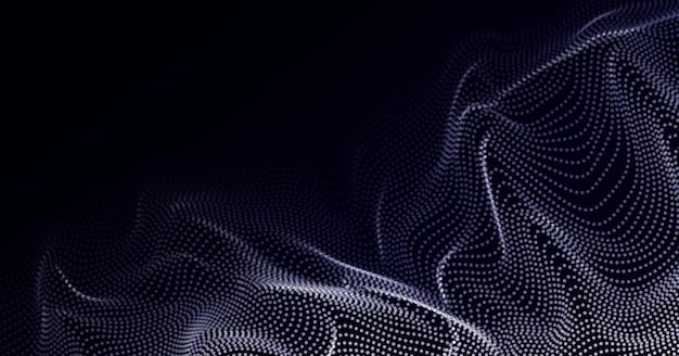 Elemento di design a onda astratta matrice di punti luminosi forma d'onda forme di particelle astratte fluttuanti