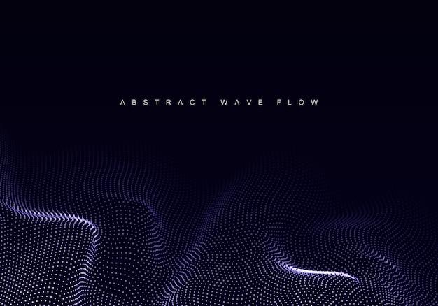 Matrice di elementi di design a onda astratta di punti luminosi forma d'onda fluttuante