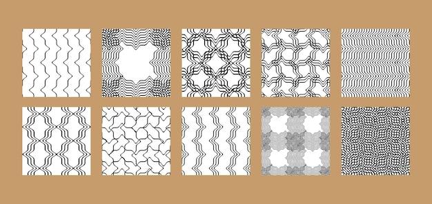 Insieme di modelli senza cuciture a strisce e a scacchi di onde astratte