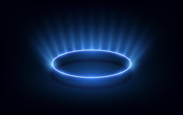 Linee di cerchi ondulati astratti cornice rotonda colore blu isolato su sfondo nero. concetto moderno di tecnologia. illustrazione vettoriale