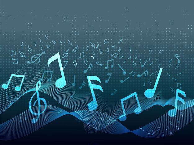 Astratto sfondo ondulato effetto mezzitoni con note musicali blu.