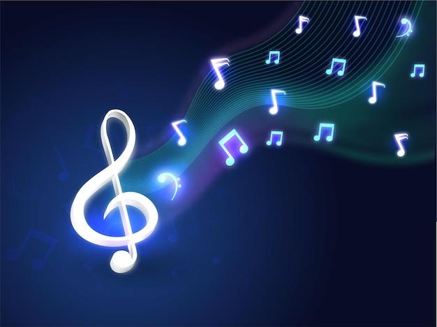 Linea ondulata astratta sfondo blu con note musicali effetto luce.