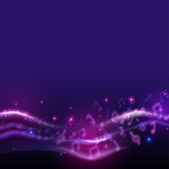Sfondo astratto movimento ondulato con note musicali.