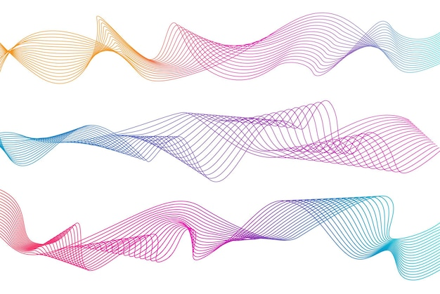Strisce ondulate astratte linee ondulate colorate sfondo bianco isolato linea ondulata curva