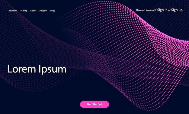Pagina di destinazione astratta del sito web con progettazione di punti mezzatinta