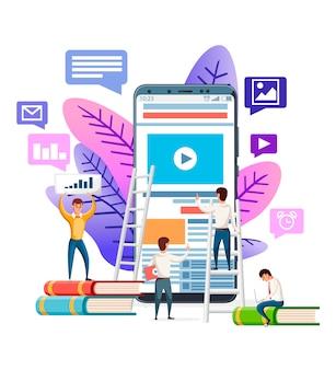 Modello di sito web astratto. moderno. persone che navigano in internet su smartphone. illustrazione su sfondo bianco. app mobile, concetto di banner