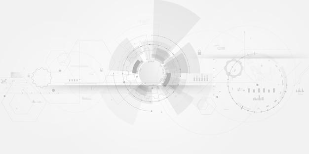 Manifesto astratto sfondo bianco con tecnologia di rete onda dinamica