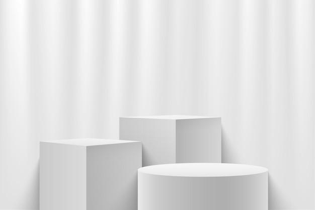 Cubo bianco astratto e display rotondo per la presentazione del prodotto