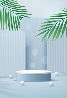 Podio con piedistallo cilindrico bianco astratto stanza vuota azzurra foglia di palma verde sfera blu e bianca rappresentazione geometrica forma 3d