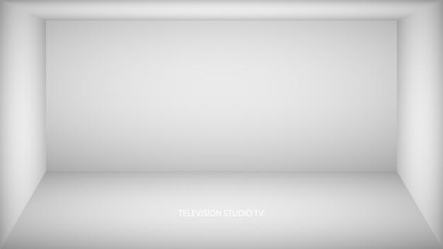 Stanza vuota bianca astratta, nicchia con muro bianco, pavimento, soffitto, lato oscuro senza trame, illustrazione incolore vista dall'alto della scatola.