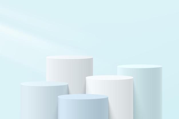Piedistallo cilindrico a gradini 3d bianco, grigio e blu astratto o podio con scena a parete blu pastello per la presentazione di prodotti cosmetici. progettazione della piattaforma di rendering geometrico vettoriale. vettore eps10