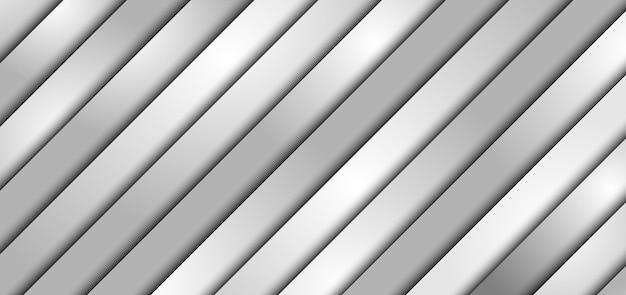 Fondo e struttura del modello di sovrapposizione di carta a strati diagonali bianchi e grigi astratti con spazio per il testo.