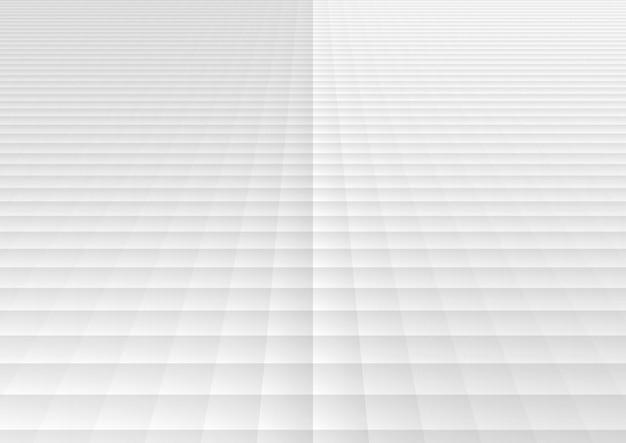 Fondo e struttura di prospettiva del modello di griglia quadrata geometrica astratta bianca e grigia.