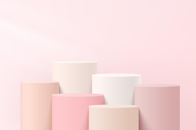 Piedistallo cilindrico a gradini 3d bianco e rosa astratto o podio con scena a parete rosa pastello per la presentazione di prodotti cosmetici. progettazione della piattaforma di rendering geometrico vettoriale. vettore eps10.
