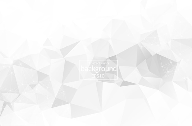 Fondo poligonale bianco astratto dello spazio con i punti e le linee di collegamento. struttura di connessione. fondo di scienza di vettore. sfondo vettoriale poligonale. sfondo futuristico dell'hud.