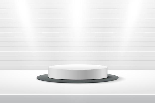 Esposizione rotonda bianca astratta per prodotto. 3d rendering forma geometrica colore argento.